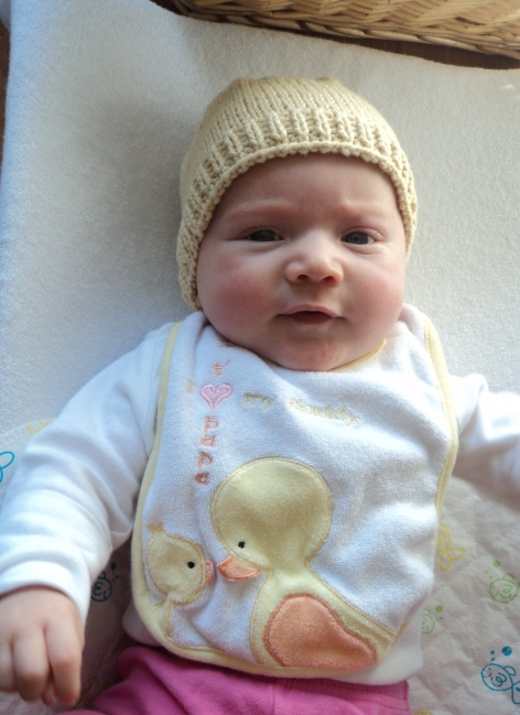 Evelyn's yellow cotton hat 2
